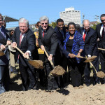 From left, Entergy Mississippi president Haley Fisackerly, former Governor Haley Barbour, Governor Phil Bryant, state NAACP president Derrick Johnson, former NAACP chair Myrlie Evers, former Governor William Winter, and former state Supreme Court Justice Reuben Anderson were part of more than fifty people who broke ground on the Museum of Mississippi History and Mississippi Civil Rights Museum in downtown Jackson on October 24. and History.